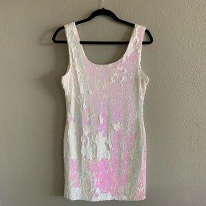 Charlotte Russe White Sequin Mini Dress -Size L